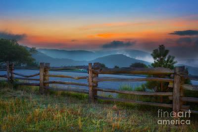 Split Rail Fence Painting - A New Beginning - Blue Ridge Parkway Sunrise I by Dan Carmichael