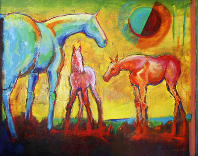 A New Day With Horses Print by Carol Jo Smidt