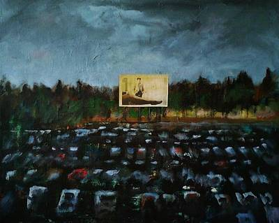 Drive-ins Painting - A Night At The Drive In by Frances Marino