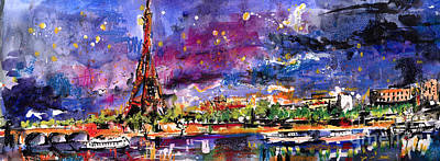 Paris Mixed Media - A Night Out In Paris Panorama by Ginette Callaway