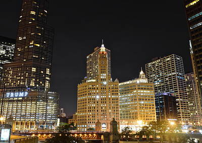Black Commerce Photograph - A Night Over The Chicago River by Frozen in Time Fine Art Photography