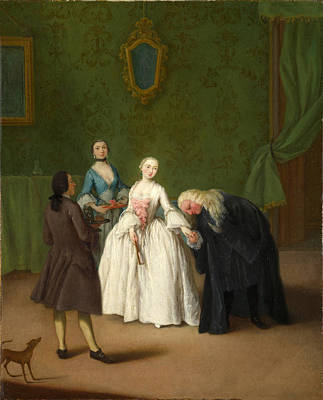 Pietro Longhi Painting - A Nobleman Kissing A Lady's Hand by Pietro Longhi
