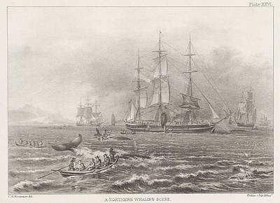 Whaling Drawing - A Northern Whaling Scene by Celestial Images