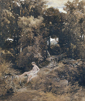 Arnold Boecklin Drawing - A Nymph At The Fountain by Arnold Boecklin