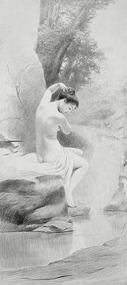 Silver Drawing - A Nymph by Charles Prosper Sainton