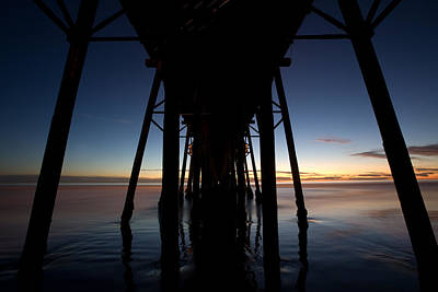 A Ocean Pier At Sunset In California Print by Peter Tellone