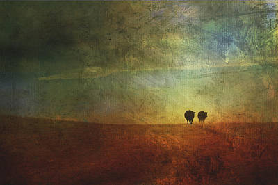A Painterly Image Of Two Cows Walking Print by Roberta Murray