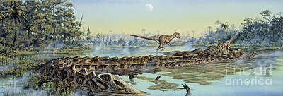 A Pair Of Allosaurus Dinosaurs Explore Print by Mark Hallett