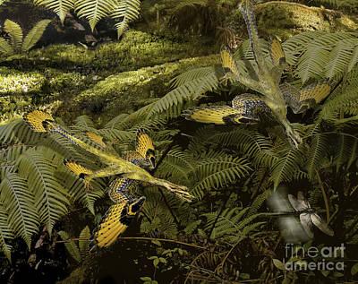 Microraptor Digital Art - A Pair Of Microraptors Attempt To Catch by Jan Sovak