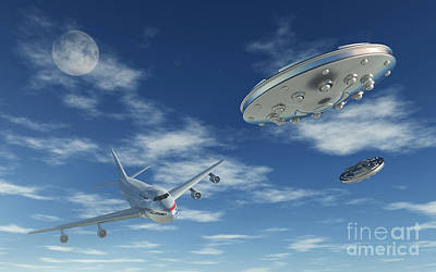 Airliners Digital Art - A Pair Of Silver Metallic Disc Shaped by Mark Stevenson