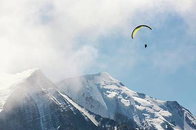Serrated Photograph - A Paraponter Over Mont Blanc by Ashley Cooper