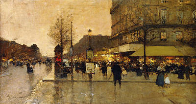 Neighbourhoods Painting - A Parisian Street Scene by Eugene Galien-Laloue