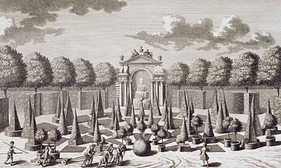 Garden Snake Drawing - A Parterre With Orange Trees In The Garden Of The Lichtenstein Palace by Salomon Kleiner