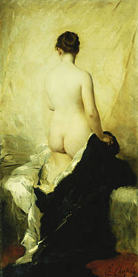 Academic Painting - A Partially Draped Nude by Charles Chaplin