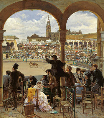 People Watching Painting - A Pass In The Bullring by Jose Jimenez Aranda