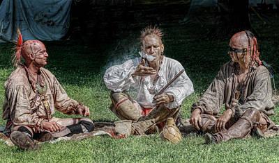 Huron Indian Digital Art - A Peaceful Smoke by Randy Steele
