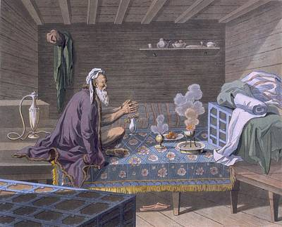 A Persian Doing His Morning Prayers Print by E. Karnejeff