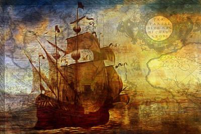 Impressionism Mixed Media - A Pirates Life Vintage by Georgiana Romanovna