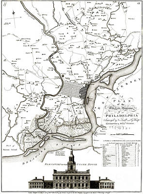 Philadelphia History Drawing - A Plan Of The City And Environs Of Philadelphia - 1777 by Pablo Romero
