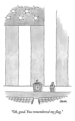 American Flags Drawing - A Politician Behind A Podium Remarks Upon An by Jack Ziegler