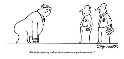 Gorilla Drawing - A Politician With The Posture Of A Gorilla Faces by Charles Barsotti