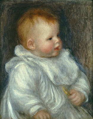 Pierre August Renoir Painting - A Portrait Of Coco Against A Blue Background by Celestial Images