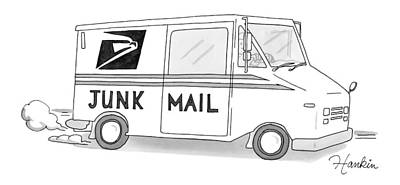 Us Postal Service Drawing - A Postal Truck Has The Phrase Junk Mail by Charlie Hankin