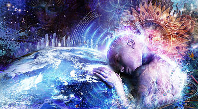 Cosmic Digital Art - A Prayer For The Earth by Cameron Gray