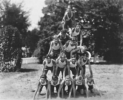A Pyramid Of Boys Print by Underwood Archives