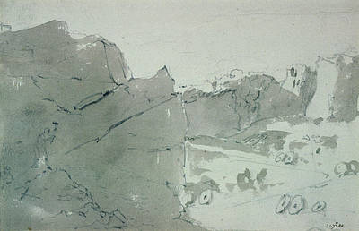 Ink Wash Drawing Drawing - A Quarry For Mill-stones In Derbyshire by John Constable