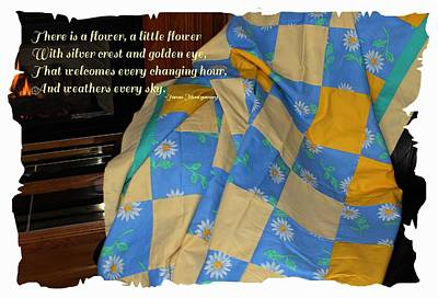 A Quilt With Daisies And Quote Print by Barbara Griffin