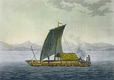 Primitive Drawing - A Raft Leaving The Port Of Guayaquil by Friedrich Alexander, Baron von Humboldt