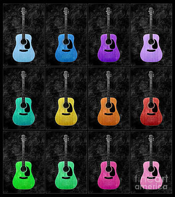 A Rainbow Of Guitars Print by Andee Design