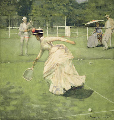 Tennis Drawing - A Rally, 1885 by Sir John Lavery