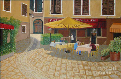 A Restaurant In A Tuscan Square Original by Stevie Stefano