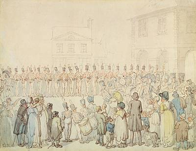 A Review Of The Northamptonshire Militia At Brackley, Northants Pen & Ink With Wc On Paper Print by Thomas Rowlandson
