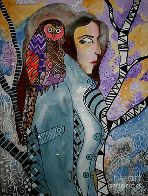 Colorful Owl. Owl With Female Painting - A Ride In Style by Amy Sorrell