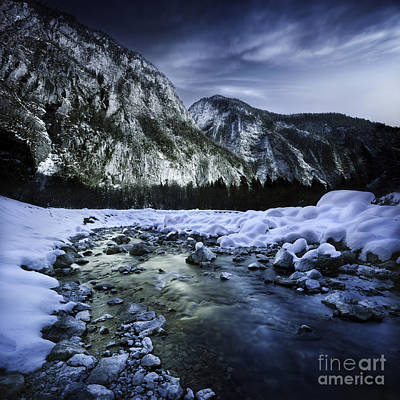 A River Flowing Through The Snowy Print by Evgeny Kuklev