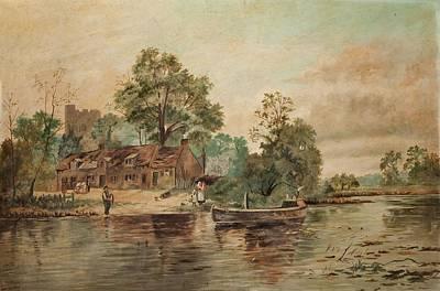 A River Scene Print by Thomas Grimshaw