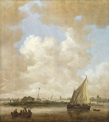 An Island Painting - A River Scene With A Hut On An Island by Jan van Goyen