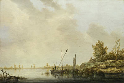 Aelbert Cuyp Painting - A River Scene With Distant Windmills by Aelbert Cuyp