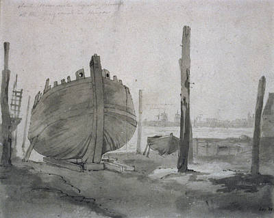 Dock Drawing - A River Scene With Vessel At Sunset by John Constable
