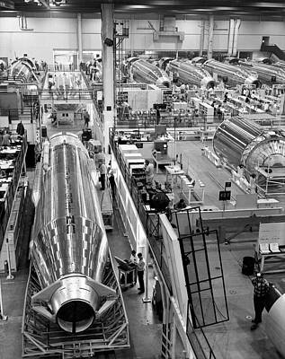Factory Photograph - A Rocket Manufacturing Facility. by Underwood Archives