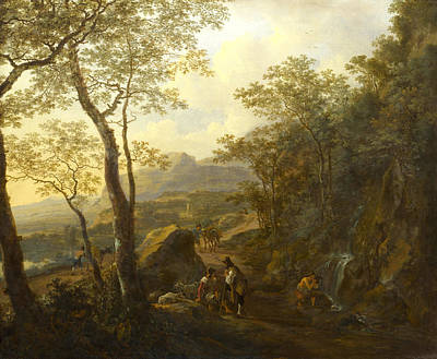 Italian Landscapes Painting - A Rocky Italian Landscape With Herdsmen And Muleteers by Jan Both