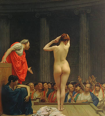 Rear Painting - A Roman Slave Market by Jean Leon Gerome