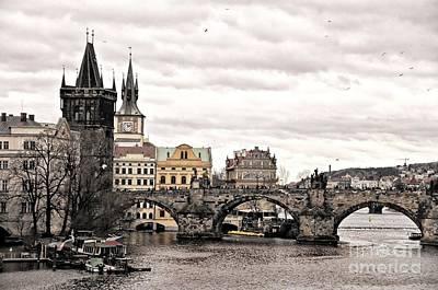 Vltava River Digital Art - A Romantic City by Daniela White