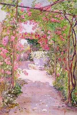 Vines Painting - A Rose Arbor And Old Well, Venice by Ellen Fradgley