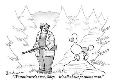 Possum Drawing - A Rough-looking Man Holding A Shotgun Speaks by David Borchart