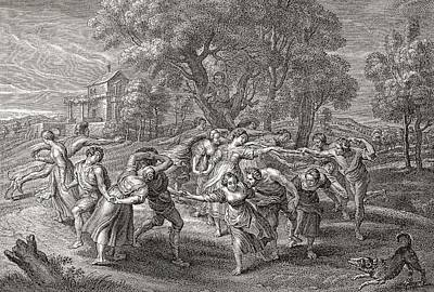 Daily Life Photograph - A Round Dance, After An Engraving From The Painting By Peter Paul Rubens.  From Illustrierte by Bridgeman Images