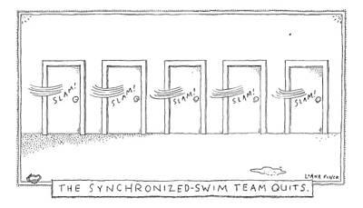 A Row Of Doors Slam Closed At The Exact Same Print by Liana Finck